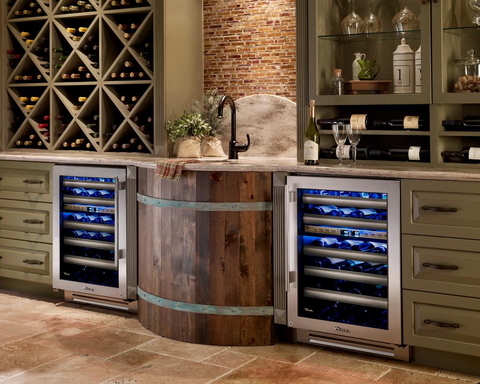 Double cave à vin intégrée à la cuisine